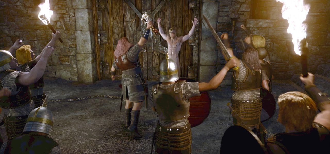 Stellt sich nackt und unbewaffnet dem Monster Grendel: Beowulf (Ray Winstone, M.) ... - Bildquelle: 2007 Warner Brothers International Television Distribution Inc.