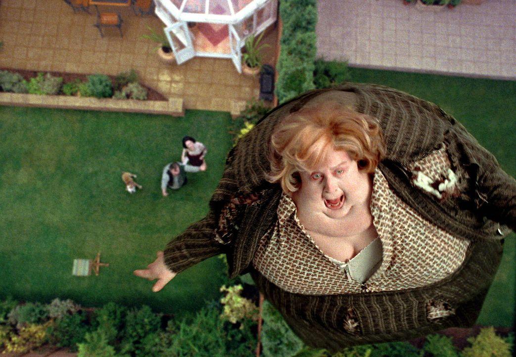 Während die abscheuliche Tante Magda (Pam Ferris) über den Nachthimmel schwebt, kann Harry Potter endlich nach Hogwarts zurückkehren ... - Bildquelle: Warner Television