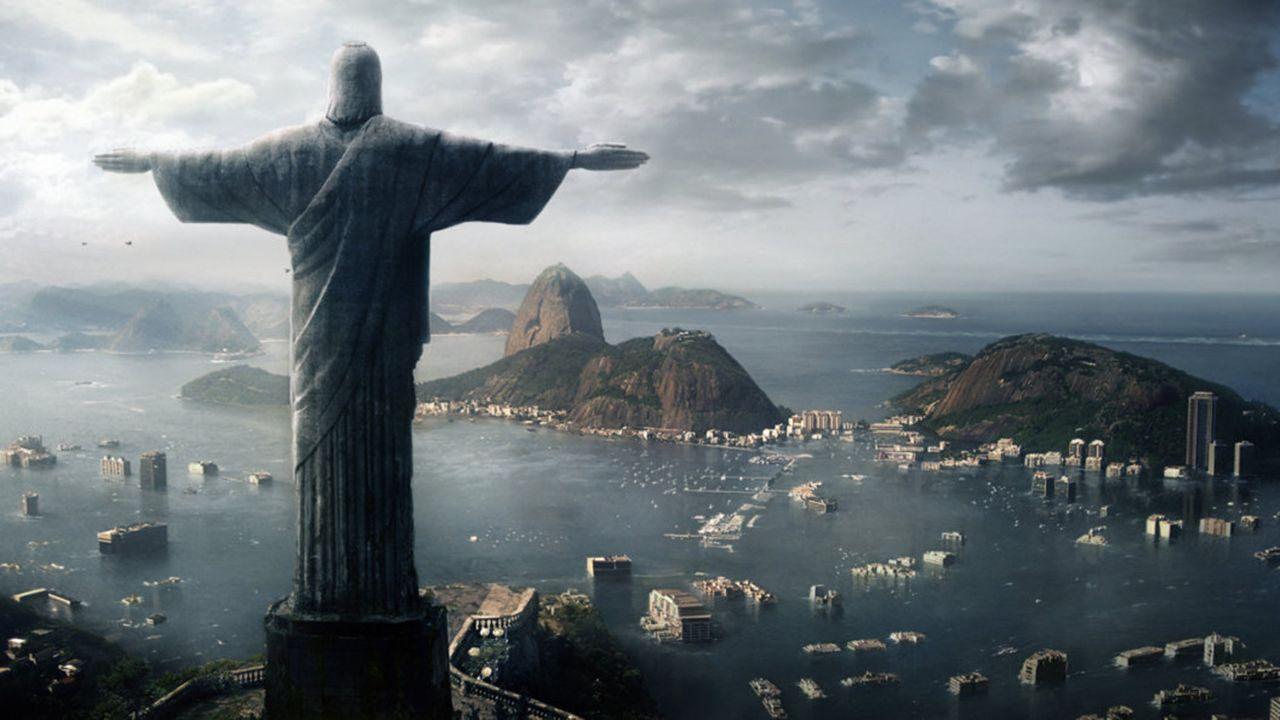 """Die folgenschweren Auswirkungen der globalen Erwärmung: Siebzig Prozent der weltweiten Landmasse ist durch """"Die Flut? überschwemmt. Rios Zuckerhut... - Bildquelle: TANDEM COMMUNICATIONS - All Rights Reserved"""