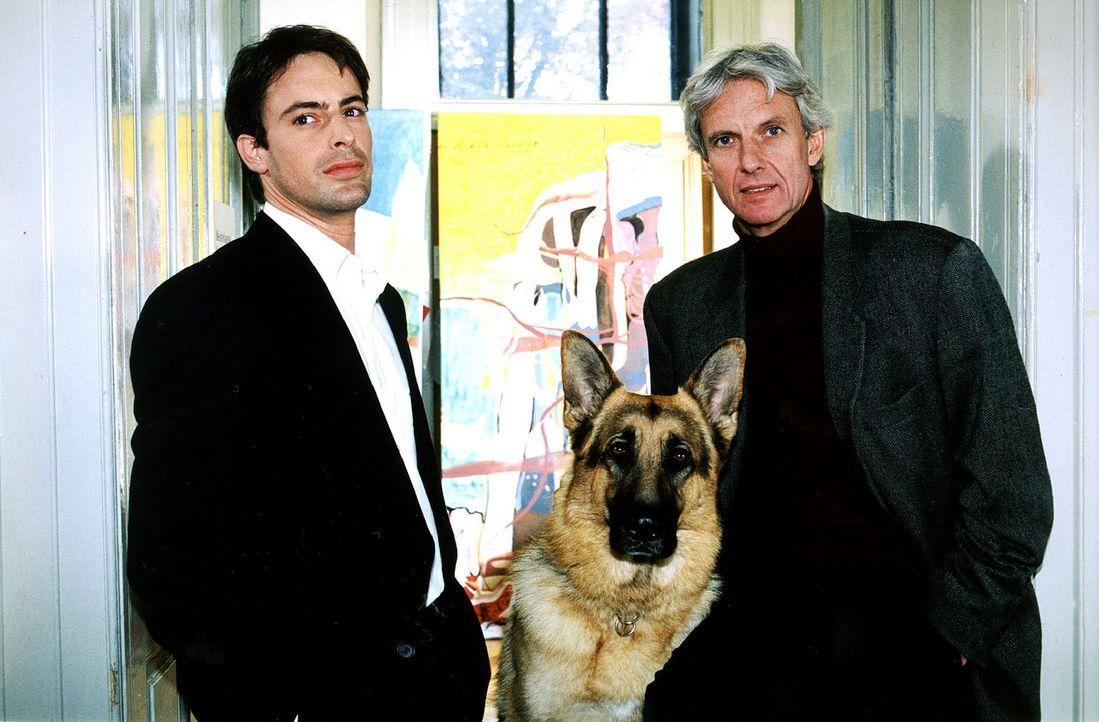Kommissar Brandtner (Gedeon Burkhard, l.) stellt Professor Mandl (Mathieu Carrière, r.) unangenehme Fragen. Der verheiratete Kunstprofessor hatte e... - Bildquelle: Sat.1