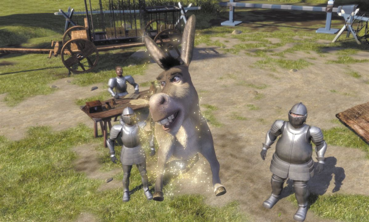 Die Soldaten des Lord Farquaad erhalten den Auftrag, alle Fabelwesen des Landes einzufangen. Doch gegen einen quirligen Esel, der noch dazu wie von... - Bildquelle: TM &   2001 DreamWorks L.L.C.