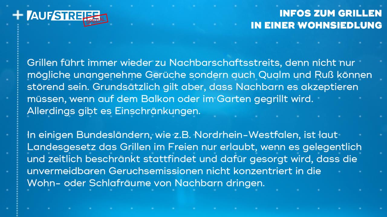 F1448_M3_Infos Grillen Wohnsiedlung - Bildquelle: SAT.1