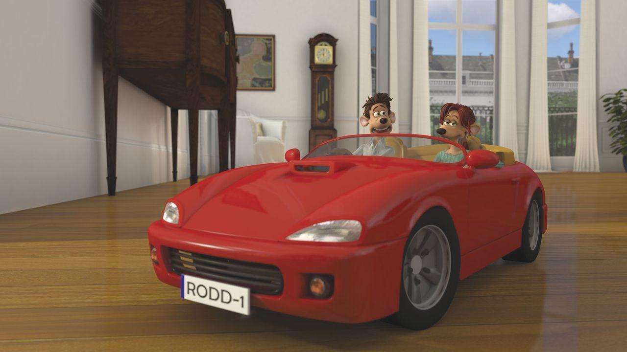 Roddy (l.) dreht mit Rita (r.) eine Runde in seinem heißgeliebten Cabriolet, doch angesichts der vielen erlebten Abenteuer ist das nun eher langweil... - Bildquelle: DREAMWORKS ANIMATION LLC AND AARDMAN ANIMATIONS LTD. FLUSHED AWAY TM DREAMWORKS ANIMATION LLC. ALL RIGHTS RESERVED.