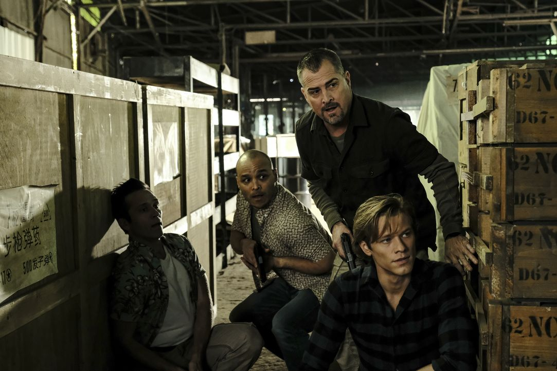 (v.l.n.r.) Hadley (Jimmy Gonzales); Jack Dalton (George Eads); MacGyver (Lucas Till) - Bildquelle: Guy D'Alema 2018 CBS Broadcasting, Inc. All Rights Reserved