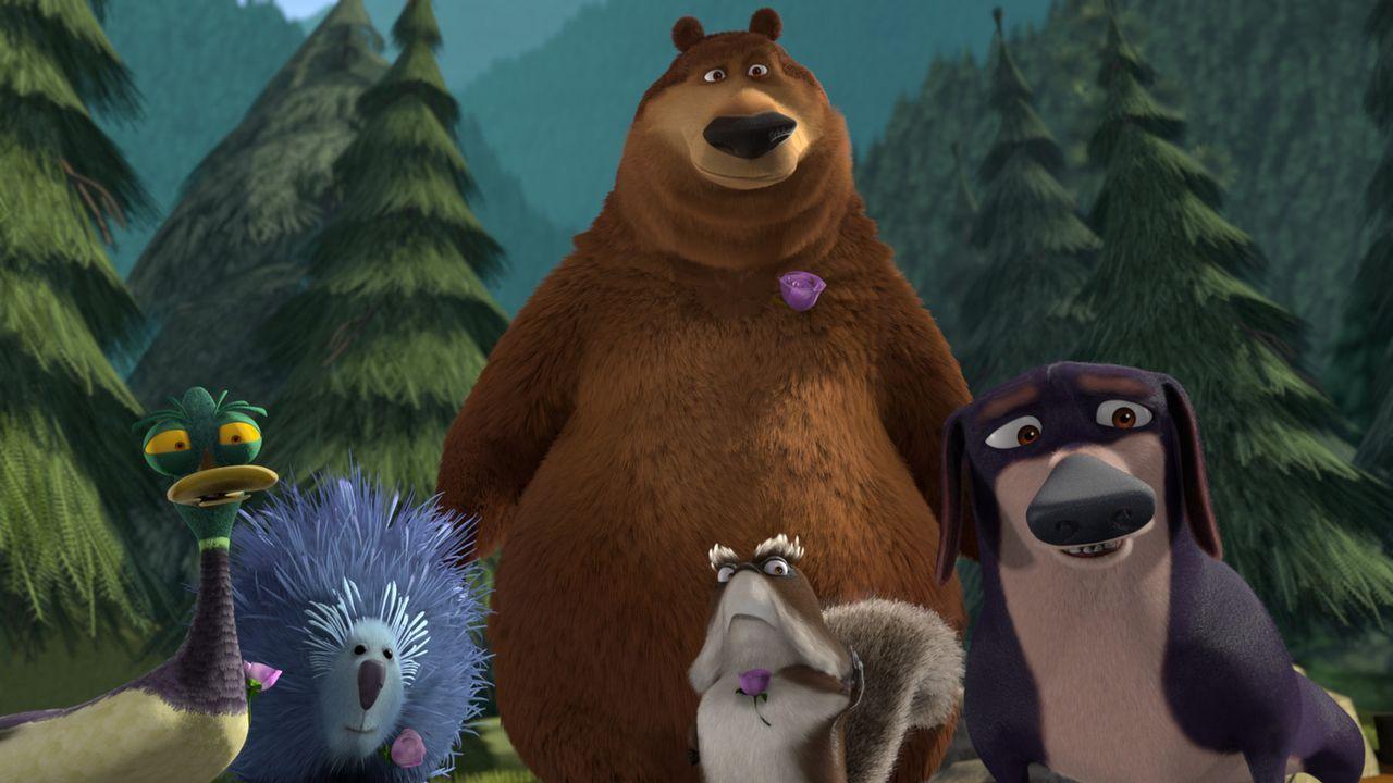 Serge (l.), Buddy (2.v.l.), Boog (M.), McSquizzy (2.v.r.) und Herr Wiener (r.) kommen, um ihren Freund Elliot zu seiner Hochzeit abzuholen. - Bildquelle: 2008 Sony Pictures Animation Inc. All Rights Reserved.