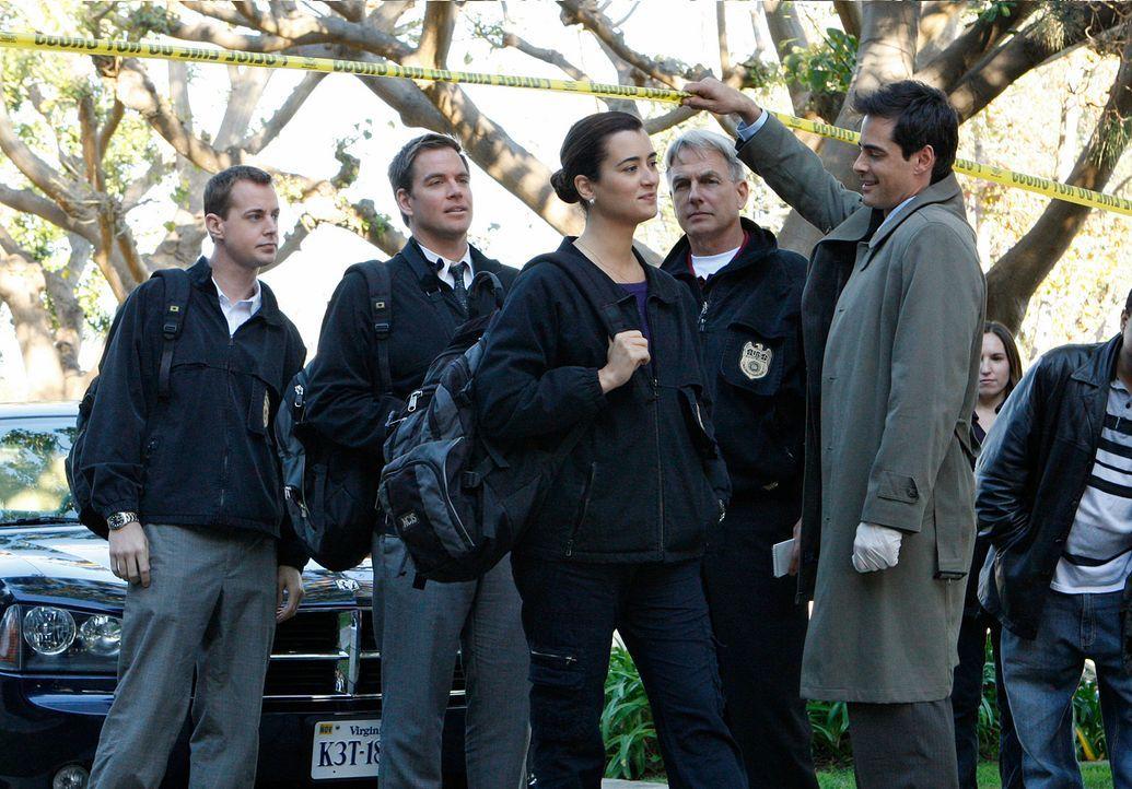Als eines Nachts ein Navy Captain erschossen wird, werden McGee (Sean Murray, l.), Tony (Michael Weatherly, 2.v.l.), Ziva (Cote de Pablo, M.), Gibbs... - Bildquelle: CBS Television