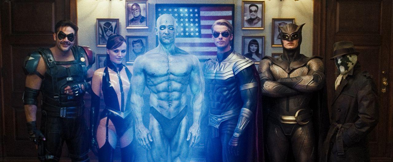 Wer wird die Wächter überwachen? (v.l.n.r.) die Superhelden und Watchmen The Comedian (Jeffrey Dean Morgan), Silk Spectre II (Malin Akerman), Dr. Ma... - Bildquelle: Paramount Pictures