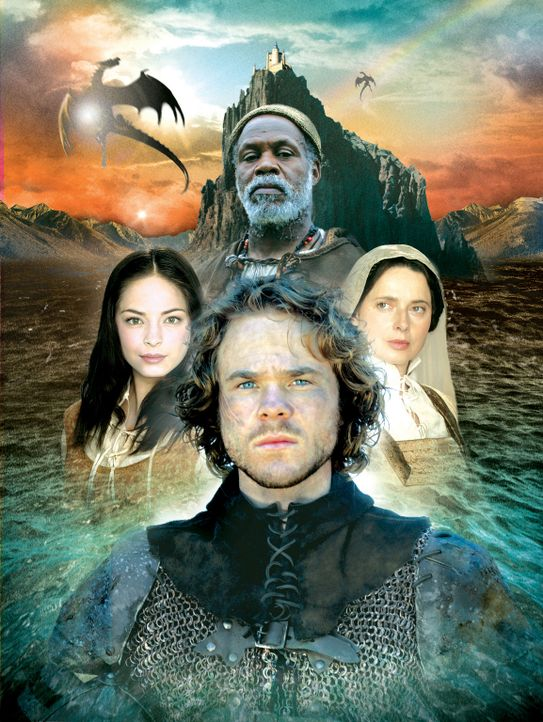 Die Mächte des Guten gegen die Mächte des Bösen: (v.l.n.r.) Tenar (Kristin Kreuk), Ged (Shawn Ashmore), Ogion (Danny Glover, hinten) und Thar (Isabe... - Bildquelle: 2004 Hallmark Entertainment Distribution, LLC