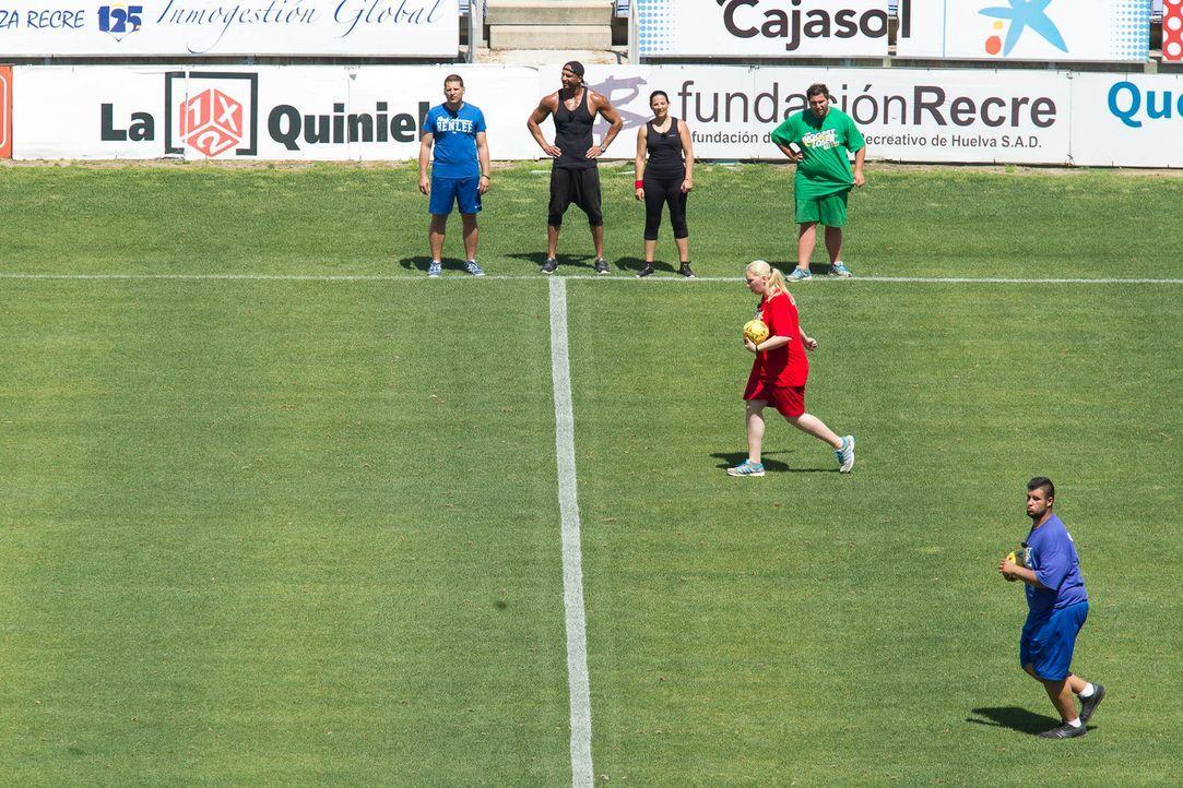 (v.l.n.r.) Ramin Abtin, Detlef D! Soost und Silke Kayadelen beobachten Laura (M.) und Erfan (r.) bei der Ballschlacht-Challenge ... - Bildquelle: Enrique Cano SAT.1
