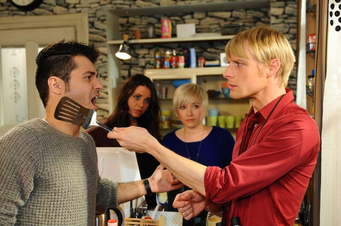 Was bei Paloma (Maja Maneiro, 2.v.l.), Olivia (Kasia Borek, 2.v.r.), Virgin (Chris Gebert, r.) und Maik (Sebastian König, l.) nur los? - Bildquelle: SAT.1