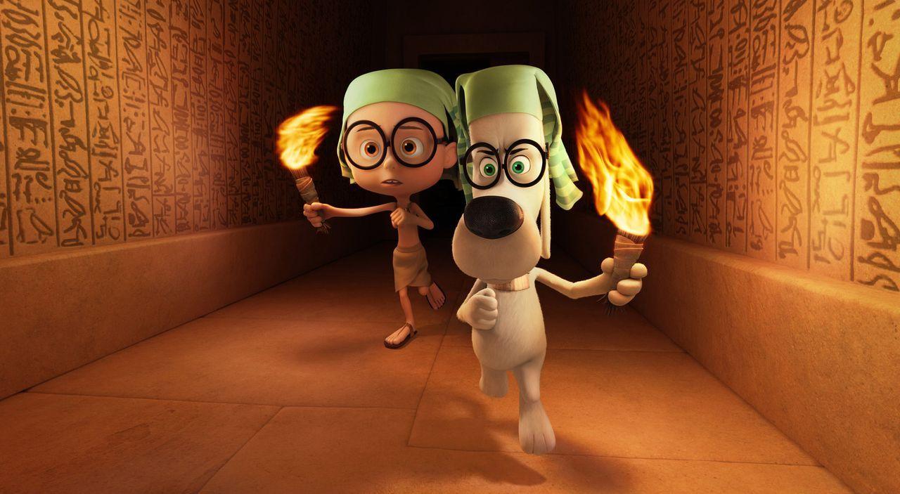 Im Alten Ägypten treffen Mr. Peabody (r.), der eine Zeitmaschine erfunden hat, und sein Adoptivsohn Sherman (l.) auf Tutanchamun und werden sogar fü... - Bildquelle: 2014 DreamWorks Animation, L.L.C.  All rights reserved.