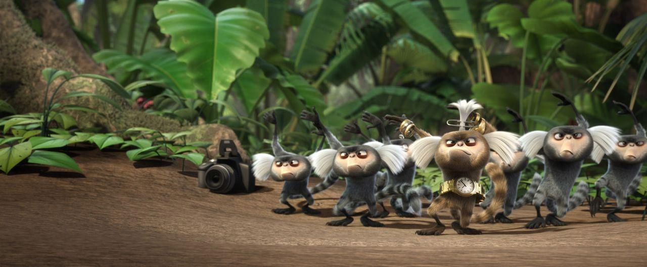 Eine wilde Affengang ist hinter Blue und Jewel her. Doch gemeinsam mit ihren Freuden versuchen sie alles, um ihnen zu entkommen ... - Bildquelle: Blue Sky Studios 2011 Twentieth Century Fox Film Corporation. All rights reserved.