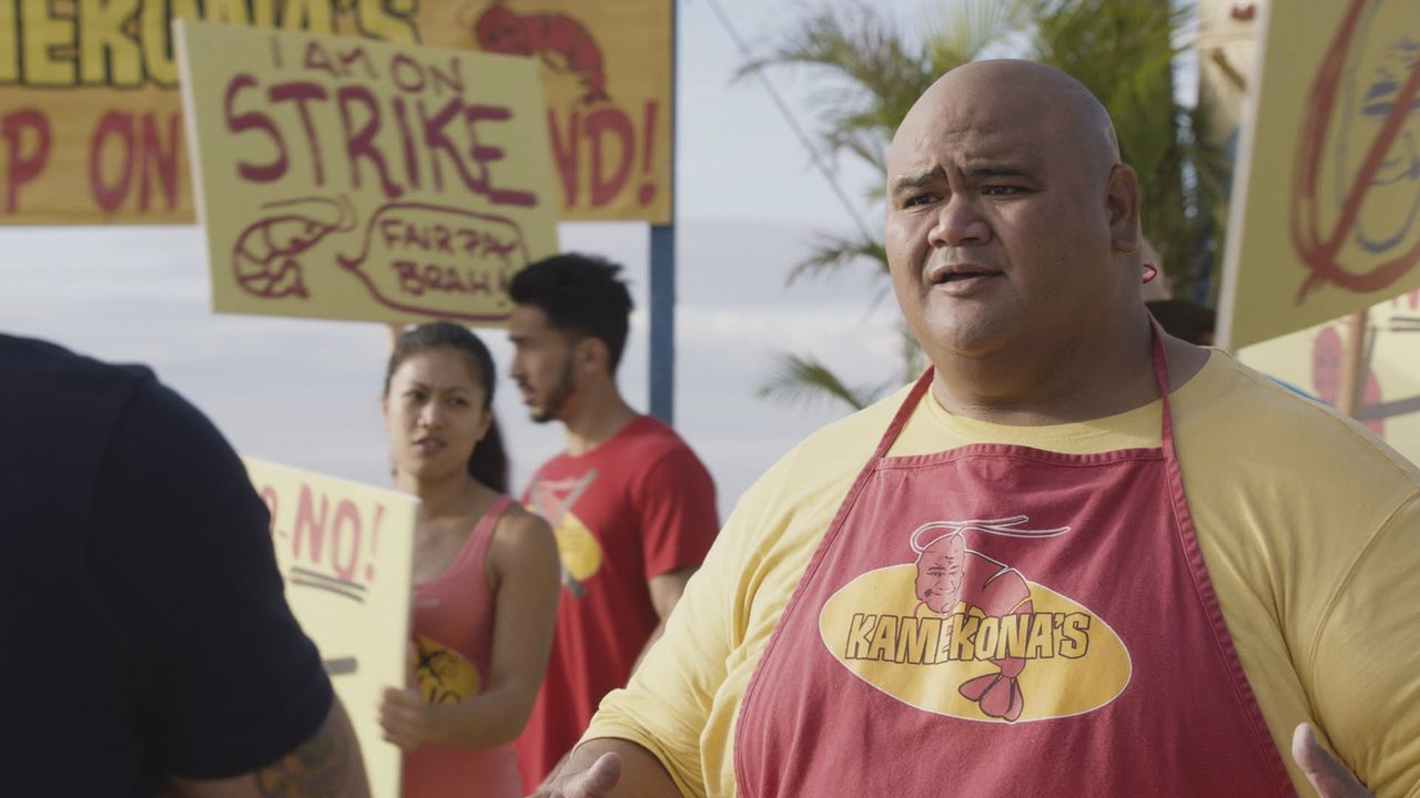 Während das Team in zwei Mordfällen ermitteln muss, hat es Kamekona (Taylor Wiley) mit Demonstranten zu tun ... - Bildquelle: Norman Shapiro 2016 CBS Broadcasting, Inc. All Rights Reserved