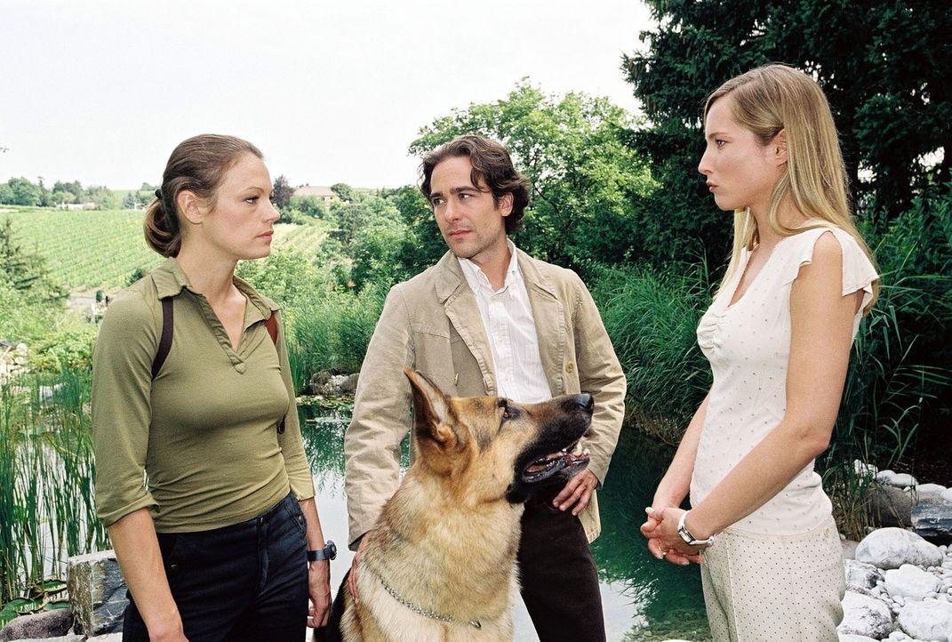 Marc (Alexander Pschill, M.) und Niki (Elke Winkens, l.) befragen Erika Strobl (Florentine Lahme, r.). - Bildquelle: Sat.1