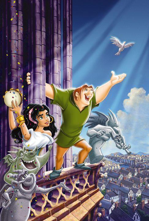 Das wunderschöne Zigeunermädchen Esmeralda (l.) freundet sich schon bald mit dem missgestaltenen Quasimodo (r.) an. Gemeinsam verbringen sie wunderb... - Bildquelle: The Walt Disney Company