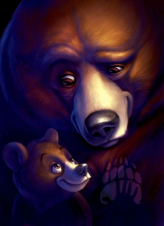 Nachdem der Junge Kenai (r.) sich auf magische Weise in einen Bären verwandelt hat, trifft er auf den kleinen Grizzly Koda (l.) der ihn von da an a... - Bildquelle: Buena Vista Pictures Distribution. All Rights Reserved.