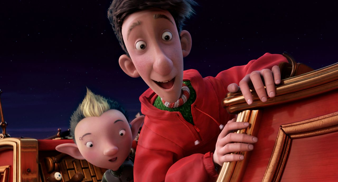 Da Arthur (r.) Feuer und Flamme für die gute alte Tradition ist, versucht er gemeinsam mit Elfe Bryony (l.) alles, um seinen Bruder aufzuhalten und... - Bildquelle: 2011 Sony Pictures Animation Inc. All Rights Reserved.
