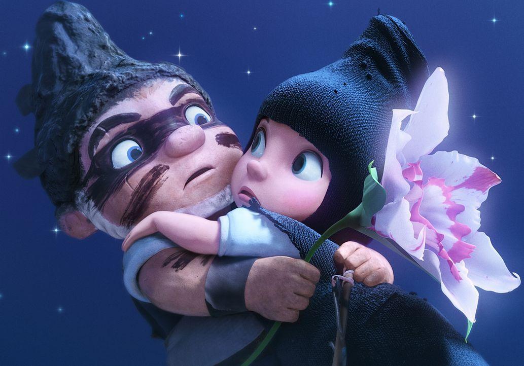 Beim Versuch, die hübsche Orchidee zu pflücken, fällt die rotbezipfelte Julia (r.) dem blaubezipfelten Zwerg Gnomeo (l.) in die Arme ... - Bildquelle: Touchstone Pictures,   Miramax Film NY, LLC. All rights reserved