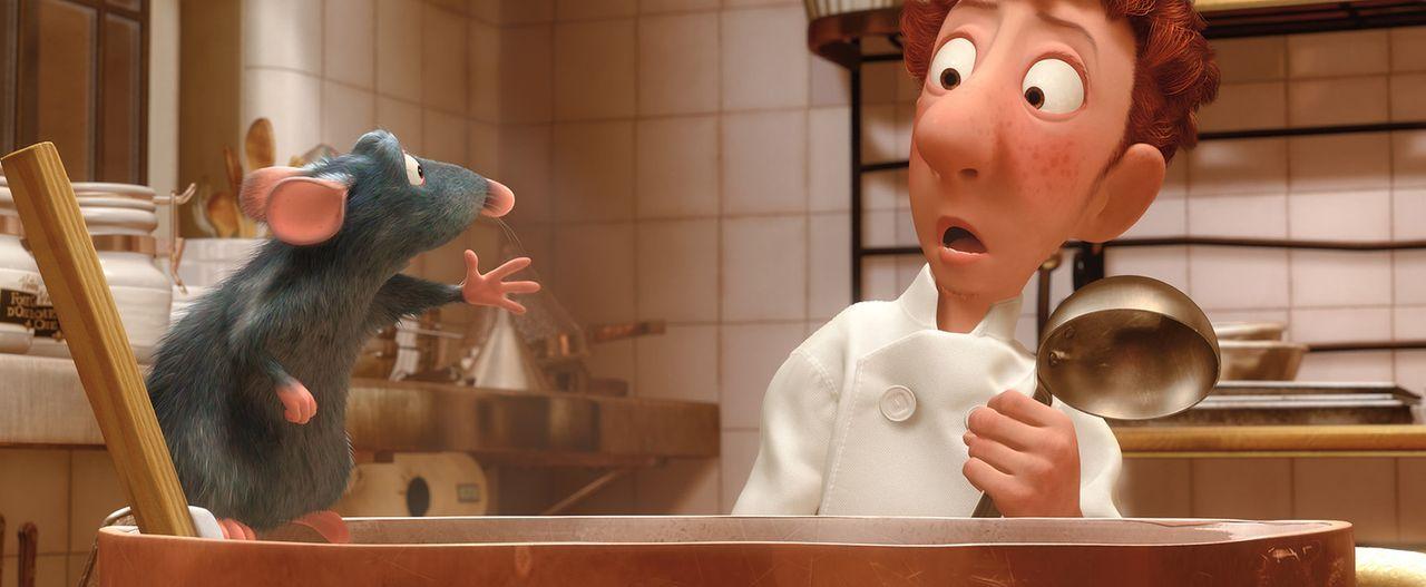 Der Küchenjunge Linguini staunt nicht schlecht, als er die Ratte Remy beim Kochen erwischt ... - Bildquelle: Disney/Pixar.  All rights reserved
