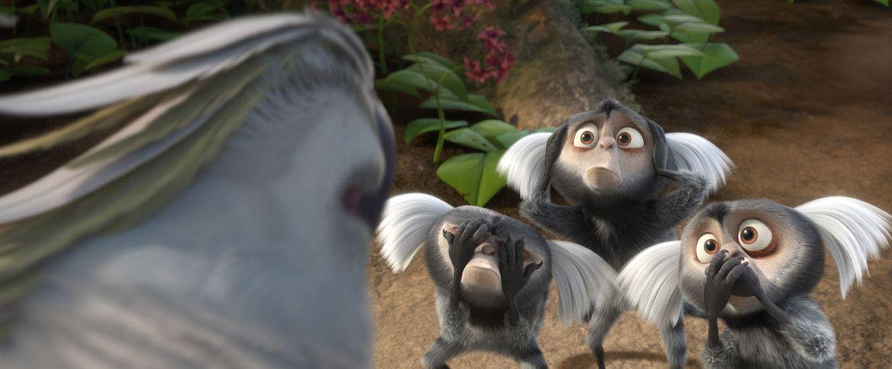 Die diebischen Weißpinselaffen und der weiße Kakadu Nigel (l.) haben es auf Blue und Jewel abgesehen. Doch gemeinsam mit ihren Freunden versuchen... - Bildquelle: Blue Sky Studios 2011 Twentieth Century Fox Film Corporation. All rights reserved.