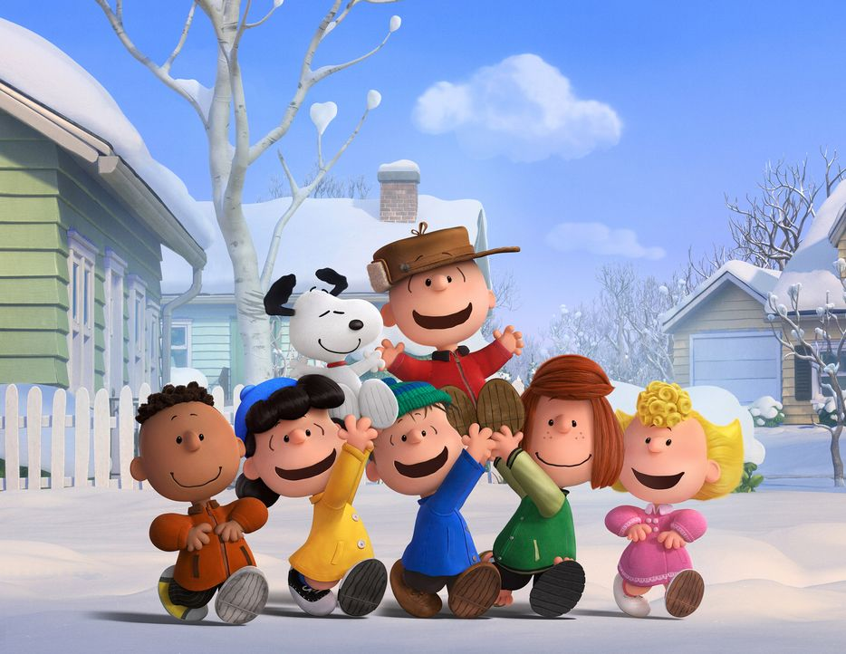 Charlie Brown (oben rechts), Snoopy (oben links) und die Peanuts Bande genießen den Tag im Schnee. Doch dann wird Charlie völlig aus der Bahn geworf... - Bildquelle: 2015 Twentieth Century Fox Film Corporation.  All rights reserved.  PEANUTS   2015 Peanuts Worldwide LLC.