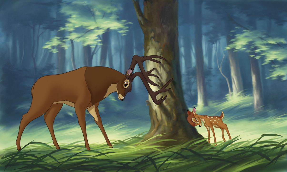 Als seine geliebte Mutter stirbt, beginnt für Bambi (r.) ein neues Leben an der Seite seines Vaters (l.) ... - Bildquelle: Disney  All rights reserved