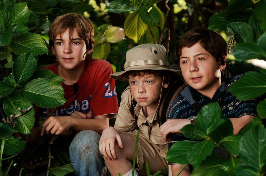 Die drei Fragezeichen Justus (Chancellor Miller, r.), Peter (Nick Price, l.) und Bob (Cameron Monaghan, M.) begeben sich in große Gefahr, weil sie... - Bildquelle: Buena Vista Pictures