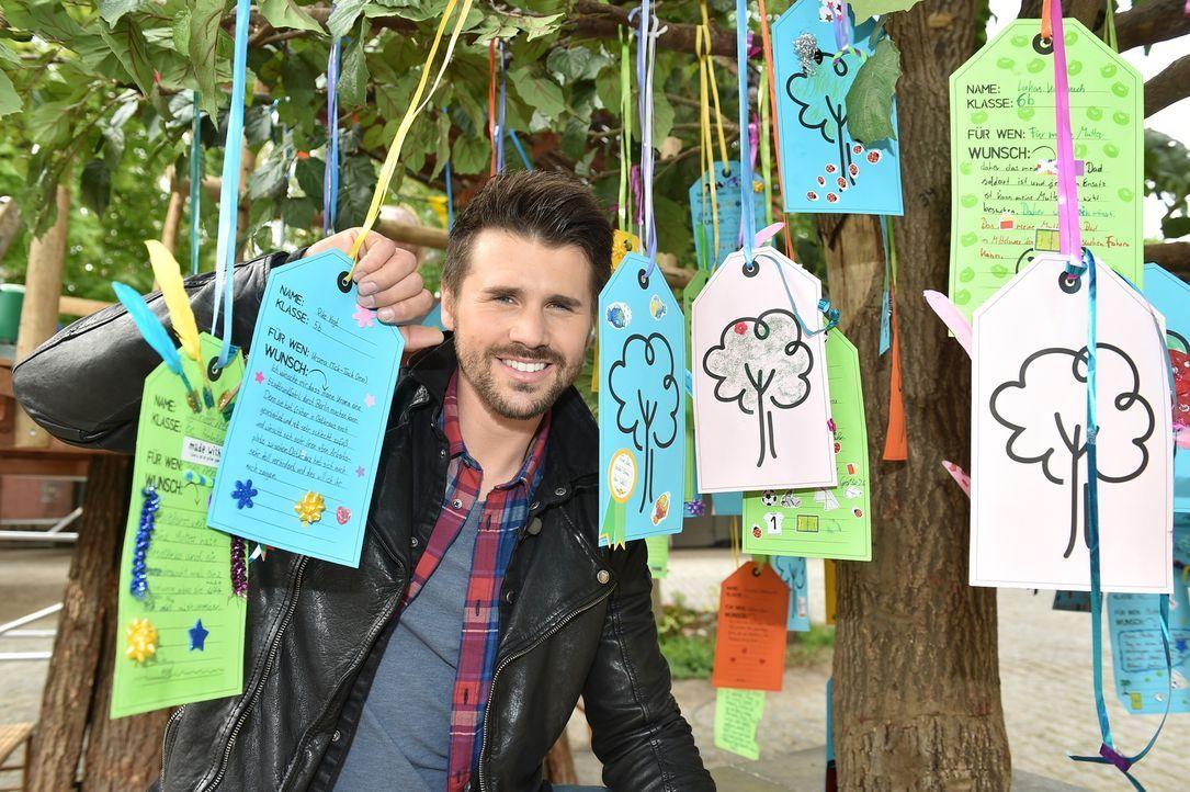 Wünsche werden wahr, wenn Thore Schölermann mit einem Wunschbaum an Schulen reist und den Kindern die Chance gibt, ihre Herzenswünsche aufzuschreibe... - Bildquelle: Andre Kowalski SAT.1