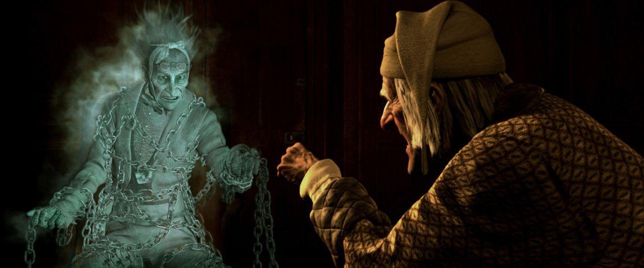 London, Ende des 19. Jahrhunderts: Der alte Ebenezer Scrooge (Jim Carrey, r.) ist ein unverbesserlicher Geizhals. Auch Weihnachten ist für ihn nich... - Bildquelle: Walt Disney Pictures/Imagemovers Digital, LLC.