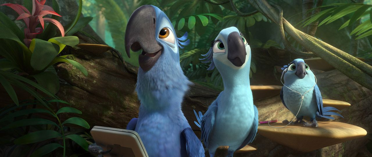 Weil es Jewel (M.) in Rio zu modern ist, macht sie sich zusammen mit Blu (l.), Carla (r.) und dem Rest der Familie auf in die Regenwälder des Amazon... - Bildquelle: 2014 Twentieth Century Fox Film Corporation.  All rights reserved.