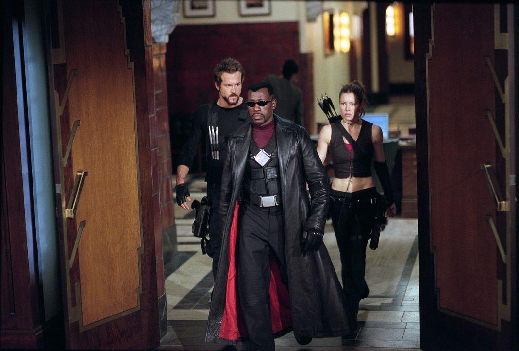 Blade (Wesley Snipes, M.), Abigail Whistler (Jessica Biel, r.) und Hannibal King (Ryan Reynolds, l.) sind für den Kampf gegen die zahllosen Blutsau... - Bildquelle: New Line Cinema