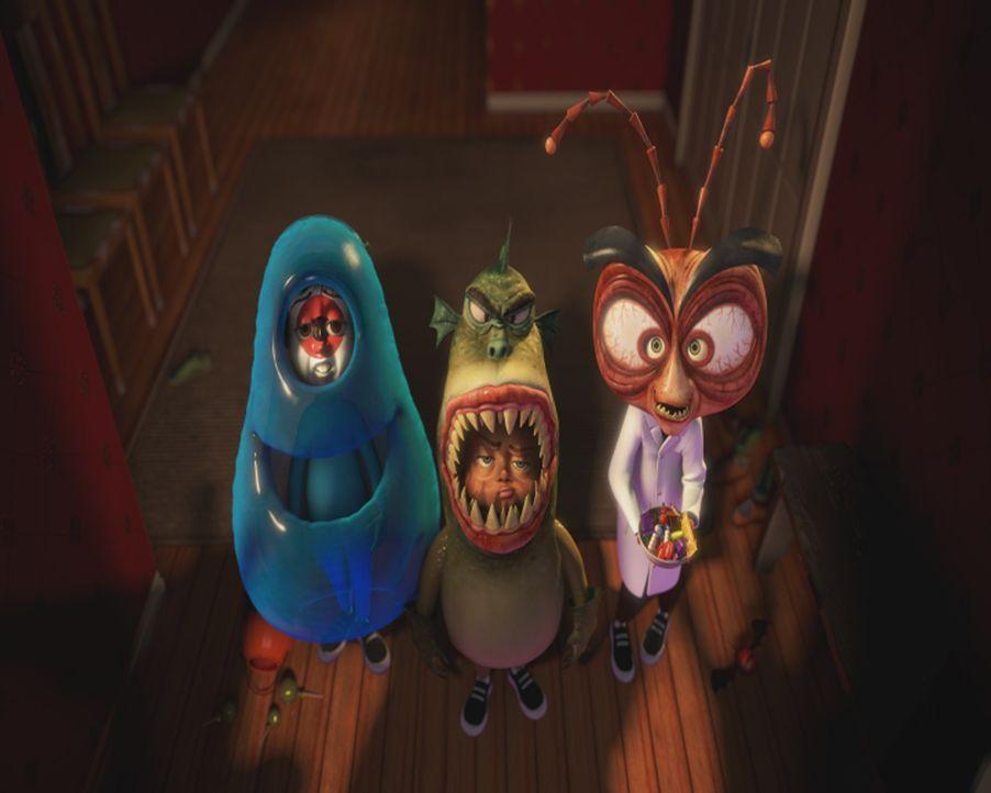 Sind sie wirklich diejenigen, für die sie sich ausgeben? B.O.B.(l.), Missing Link (M.) und der verrückt geniale Professor Dr. Kakerlake (r.) ... - Bildquelle: TM &   2009 DreamWorks Animation L.L.C. All Rights Reserved.