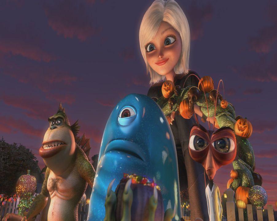 Bis zum Tag ihrer Hochzeit war Susan (hinten M.) ein ganz normales Mädchen. Doch dann wird sie von einem schleimigen Klumpen aus dem Weltall getroff... - Bildquelle: TM &   2009 DreamWorks Animation L.L.C. All Rights Reserved.