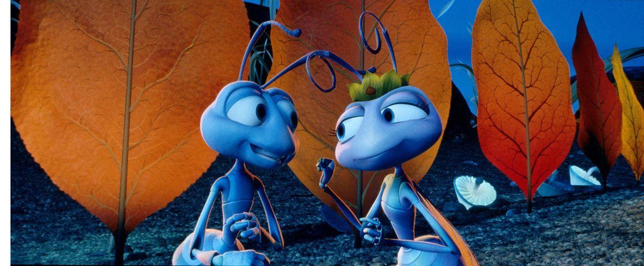 Zwischen Flik (l.) und der hübschen Prinzessin Atta (r.) knistert es gewaltig! - Bildquelle: Disney/Pixar