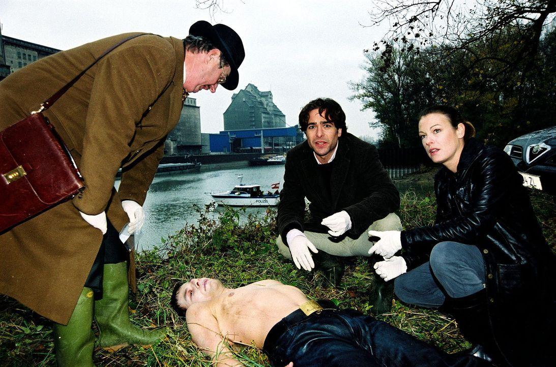 Dr. Graf (Gerhard Zemann, l.), Niki (Elke Winkens, r.) und Marc (Alexander Pschill, M.) finden am Donaukanal eine Männerleiche. - Bildquelle: Sat.1