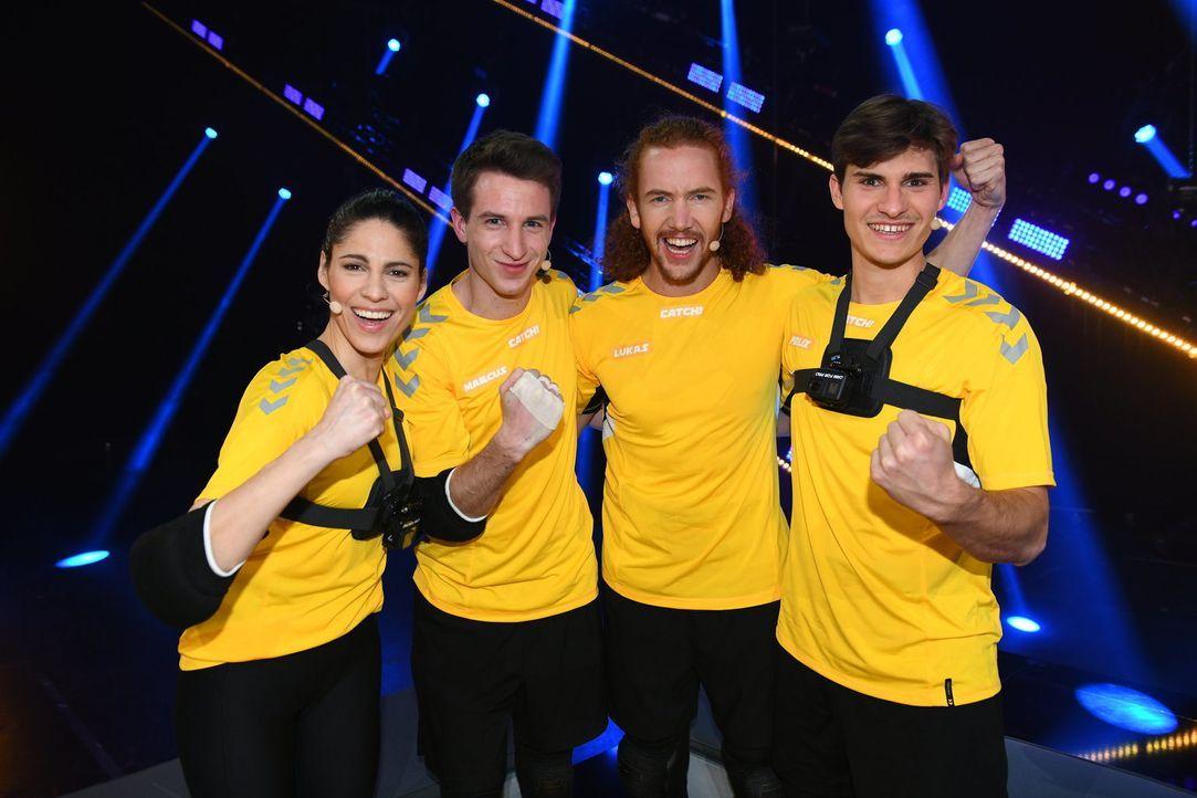 (v.l.n.r.) Jasmin Gerat; Marcus Füller; Lukas Bönninghausen; Felix Schmitt - Bildquelle: Willi Weber SAT.1/Willi Weber