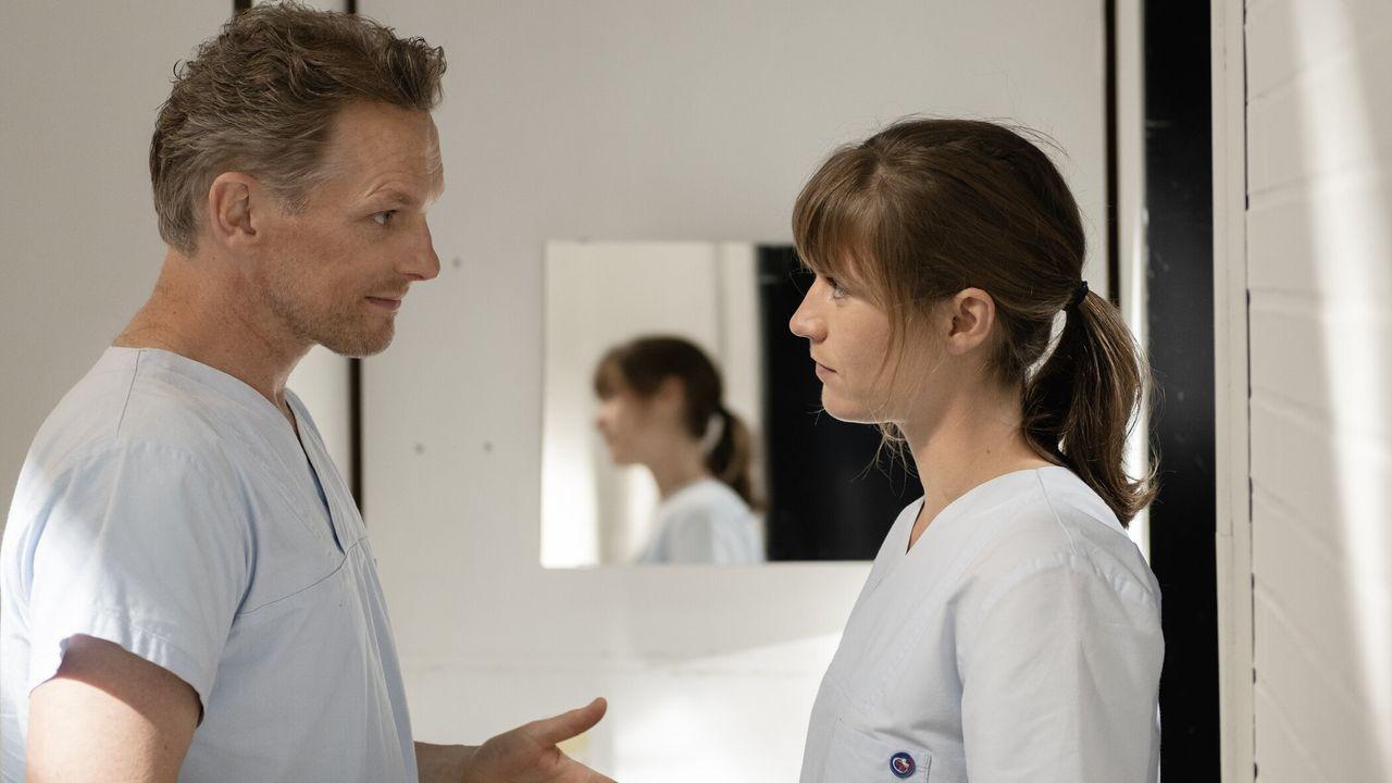Hendrik Voss (Barry Atsma, l.); Katrin (Sophie Pfennigstorf, r.) - Bildquelle: SAT.1 / Christine Schröder