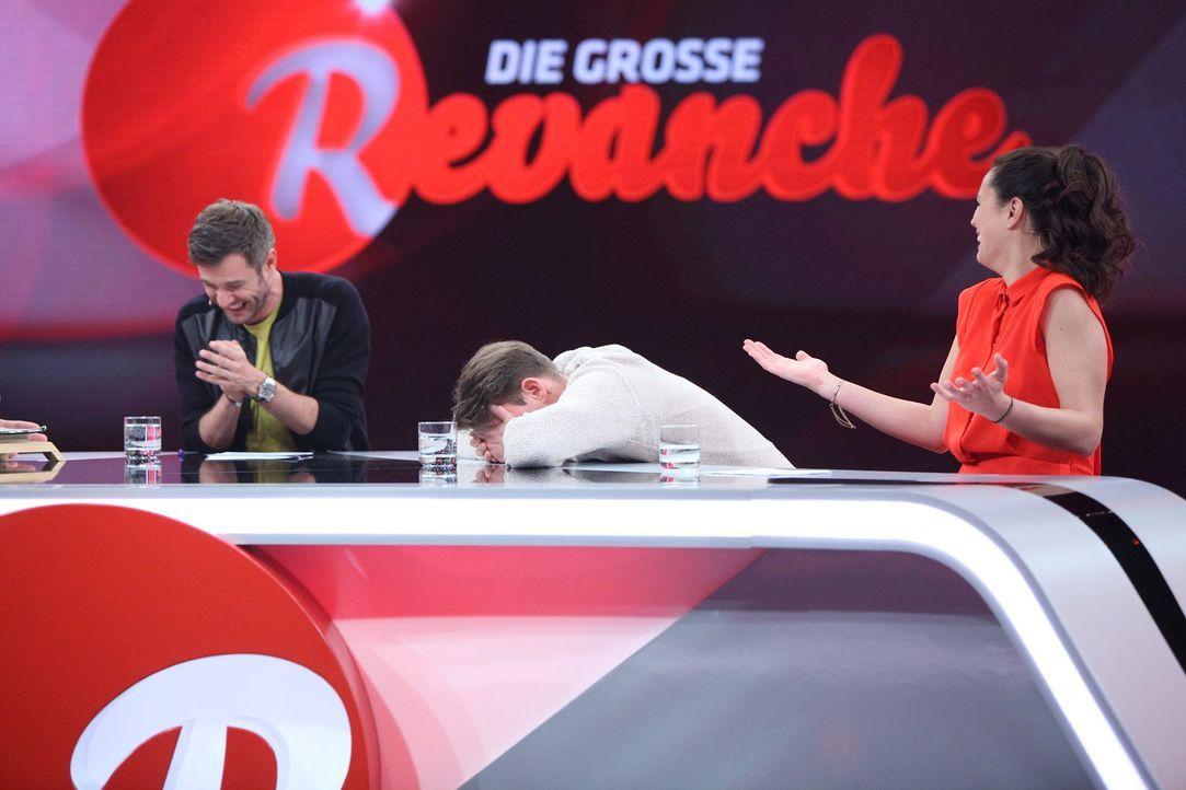 Die große Revanche mit (v.l.n.r.) Jochen Schropp, Max Giermann und Christine Henning ... - Bildquelle: Frank Hempel Sat.1
