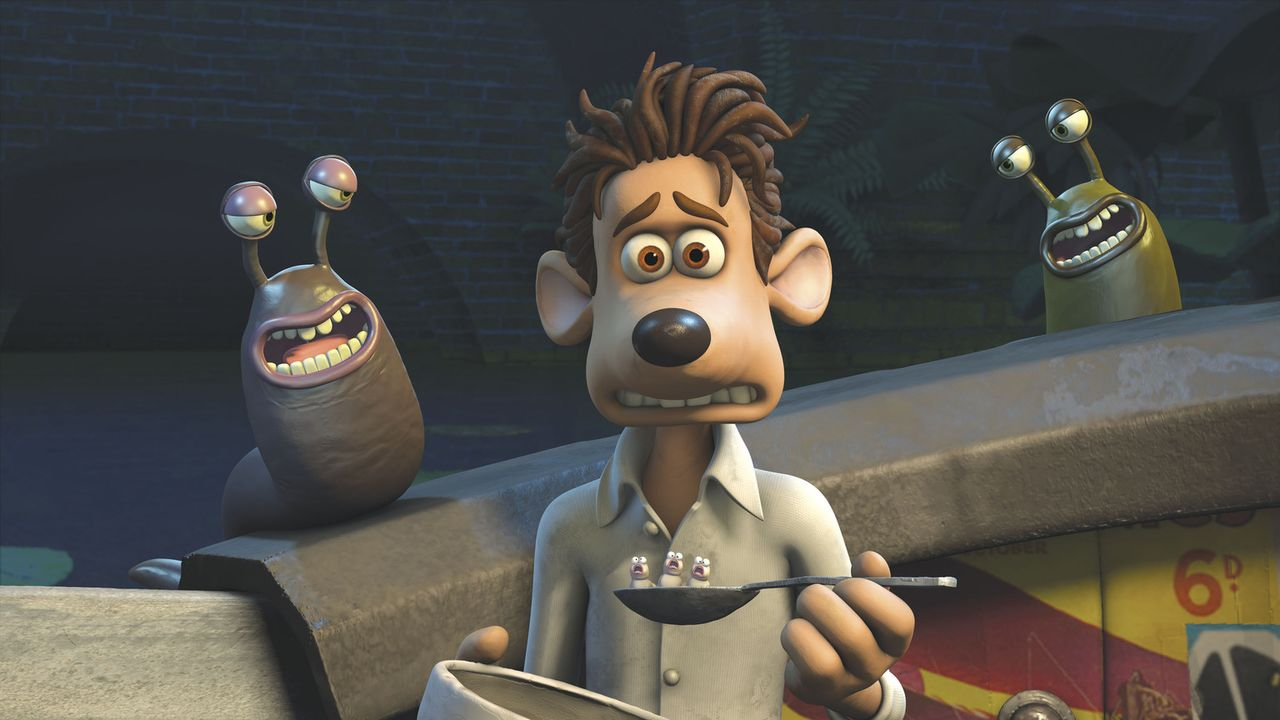Nur ganz schwer kann sich Roddy mit dem gewöhnlichen Essen in der Kanalisation anfreunden ... - Bildquelle: DREAMWORKS ANIMATION LLC AND AARDMAN ANIMATIONS LTD. FLUSHED AWAY TM DREAMWORKS ANIMATION LLC. ALL RIGHTS RESERVED.