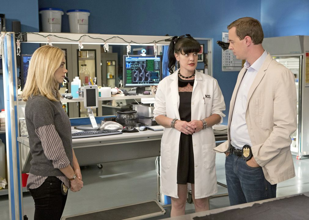 Ein neuer Fall wartet auf McGee (Sean Murray, r.), Abby (Pauley Perrette, M.) und Eleonor (Emily Wickersham, l.) ... - Bildquelle: 2014 CBS Broadcasting, Inc. All Rights Reserved