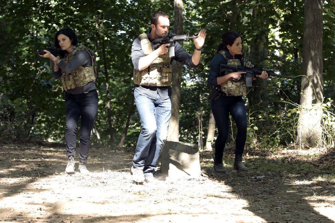 Ganz auf sich gestellt, müssen sich (v.l.n.r.) Jane (Jaimie Alexander), Weller (Sullivan Stapleton) und Zapata (Audrey Esparza) gegen eine Killertru... - Bildquelle: Warner Brothers