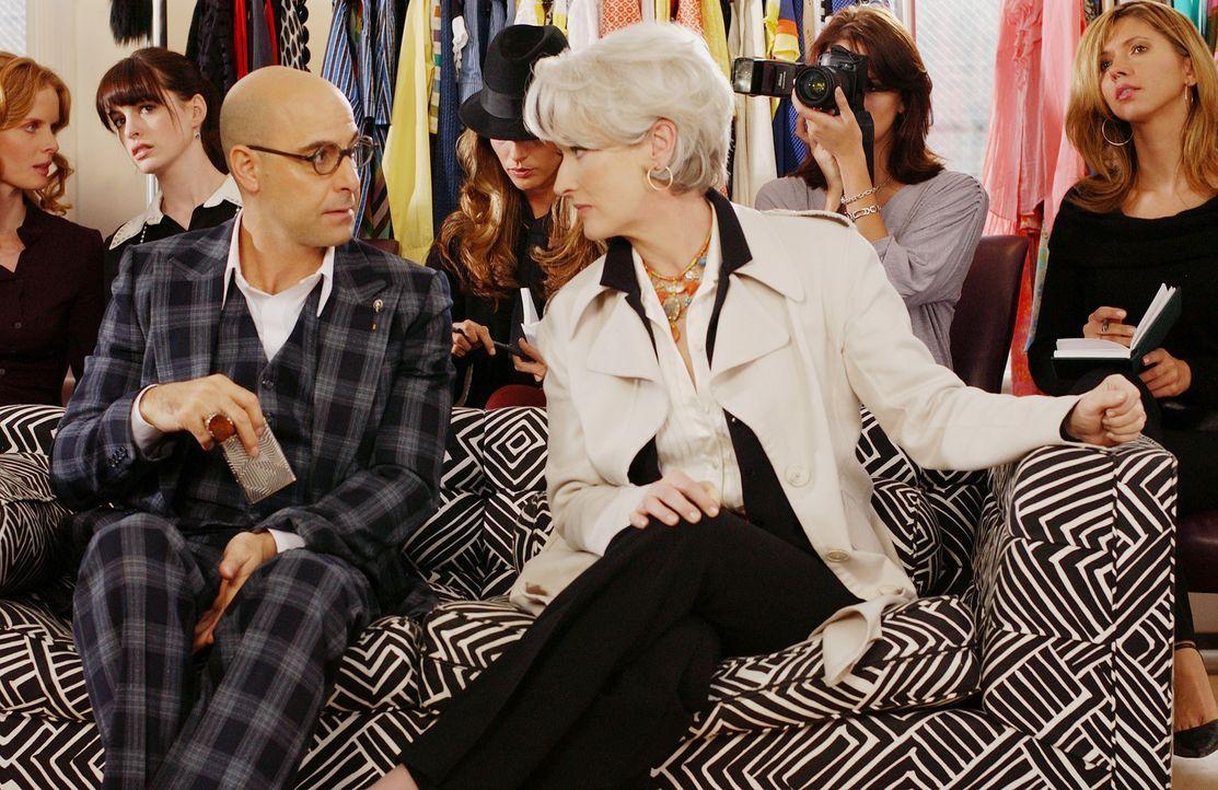 Was steckt wirklich hinter der perfekten Fassade der Modepüppchen Nigel (Stanley Tucci, l.) und Miranda (Meryl Streep, r.)? - Bildquelle: 2006 Twentieth Century Fox