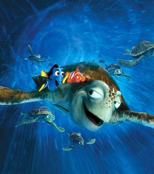 Als die Meeresschildkröte Crush auf Marlin (M.) und Dorie (l.) trifft, freut er sich sehr, ihnen dabei zu helfen, den richtigen Weg zu finden ? vora... - Bildquelle: Walt Disney Pictures