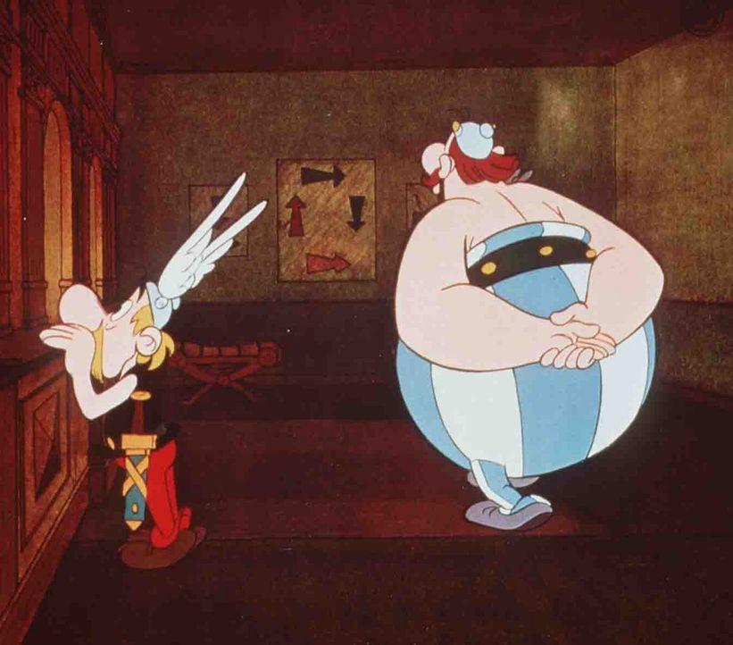 Entschlossen, ein für alle Mal reinen Tisch zu machen, hat Cäsar für die Asterix (l.) und Obelix (r.) ein abenteuerliches Experiment arrangiert ... - Bildquelle: Jugendfilm-Verleih GmbH