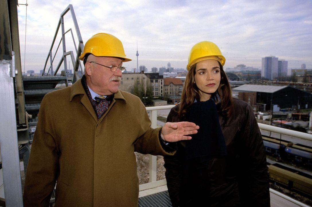 Sandra (Rebecca Immanuel. r.) vertritt den Bauunternehmer Galler (Hans Teuscher, l.). Bei ihrem Besuch auf seiner Baustelle kommt Sandra dem Abgrund... - Bildquelle: Hardy Spitz Sat.1
