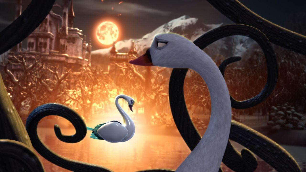 Auf dem Schwanensee verwandelt der finstere Zauberer Rothbart Prinzessin Odette wieder in einen weißen Schwan und sperrt sie in einen Käfig. Doch Od... - Bildquelle: 2012 Swan IV LLC. All Rights Reserved.