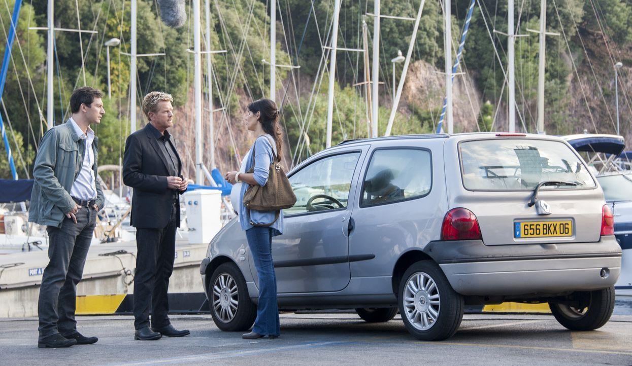 Lucas (Franck Sémonin, l.) und Martin (Xavier Deluc, M.) befragen die junge Barbara Coste (Margot Faure, r.). Aber hat sie etwas mit dem Mord zu tun? - Bildquelle: Jean Louis PARIS