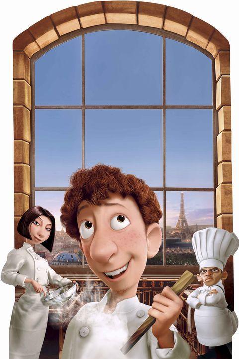 Der tollpatschige Linguini (M.) hat große Probleme, sich gegen seinen Chef (r.) durchzusetzen. Die Köchin Colette (l.) unterstützt ihn jedoch wo... - Bildquelle: Disney/Pixar.  All rights reserved