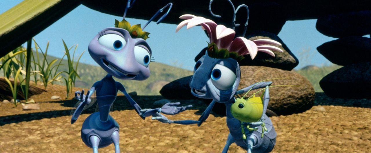 Auf der Ameiseninsel herrscht geschäftiges Treiben. Ängstlich erwarten die Königin (r.), ihre Nachfolgerin Prinzessin Atta (l.) und das fleißige... - Bildquelle: Disney/Pixar