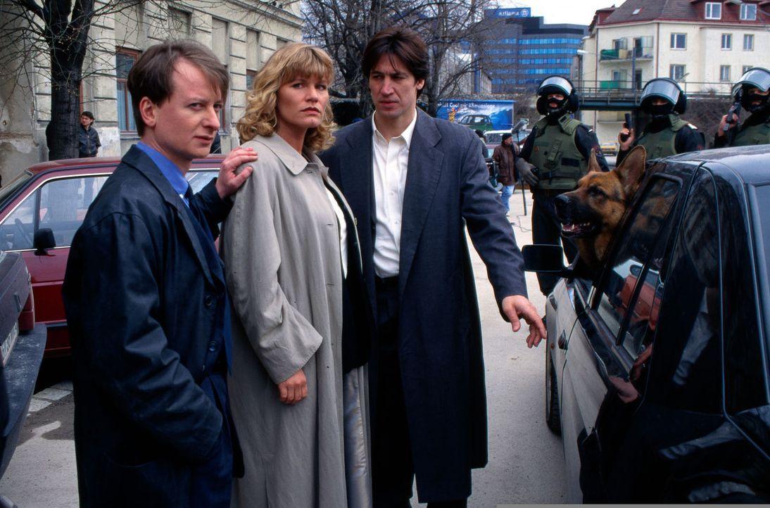 Der Zeichenlehrer Bergmann hat sich unsterblich in die wegen Mordes angeklagte attraktive Diana Markus (Anne Kasprik, M.) verliebt und befreit sie a... - Bildquelle: Ali Schafler Sat.1